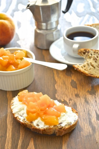 Ricotta Tartine With Maple-Peach Compote