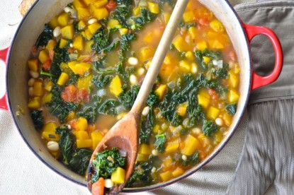 Autumn soup with kale and butternut squash