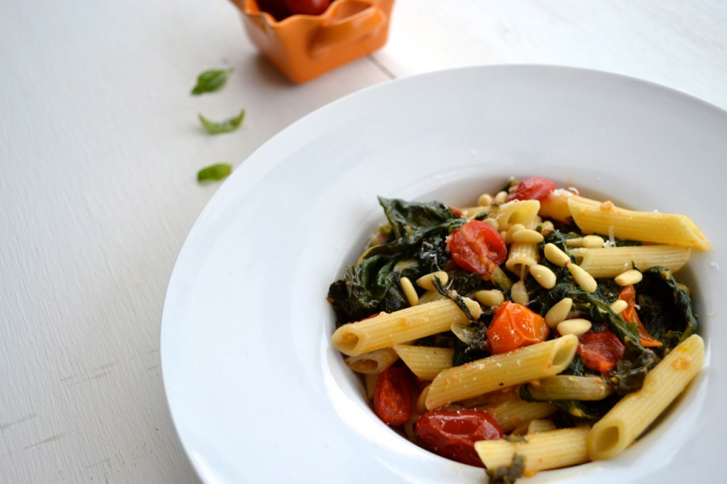 Penne with cherry tomatoes and chard