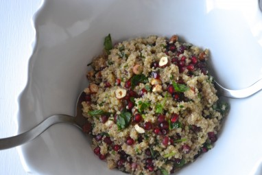 Herbed quinoa salad with pomegranate and hazelnuts