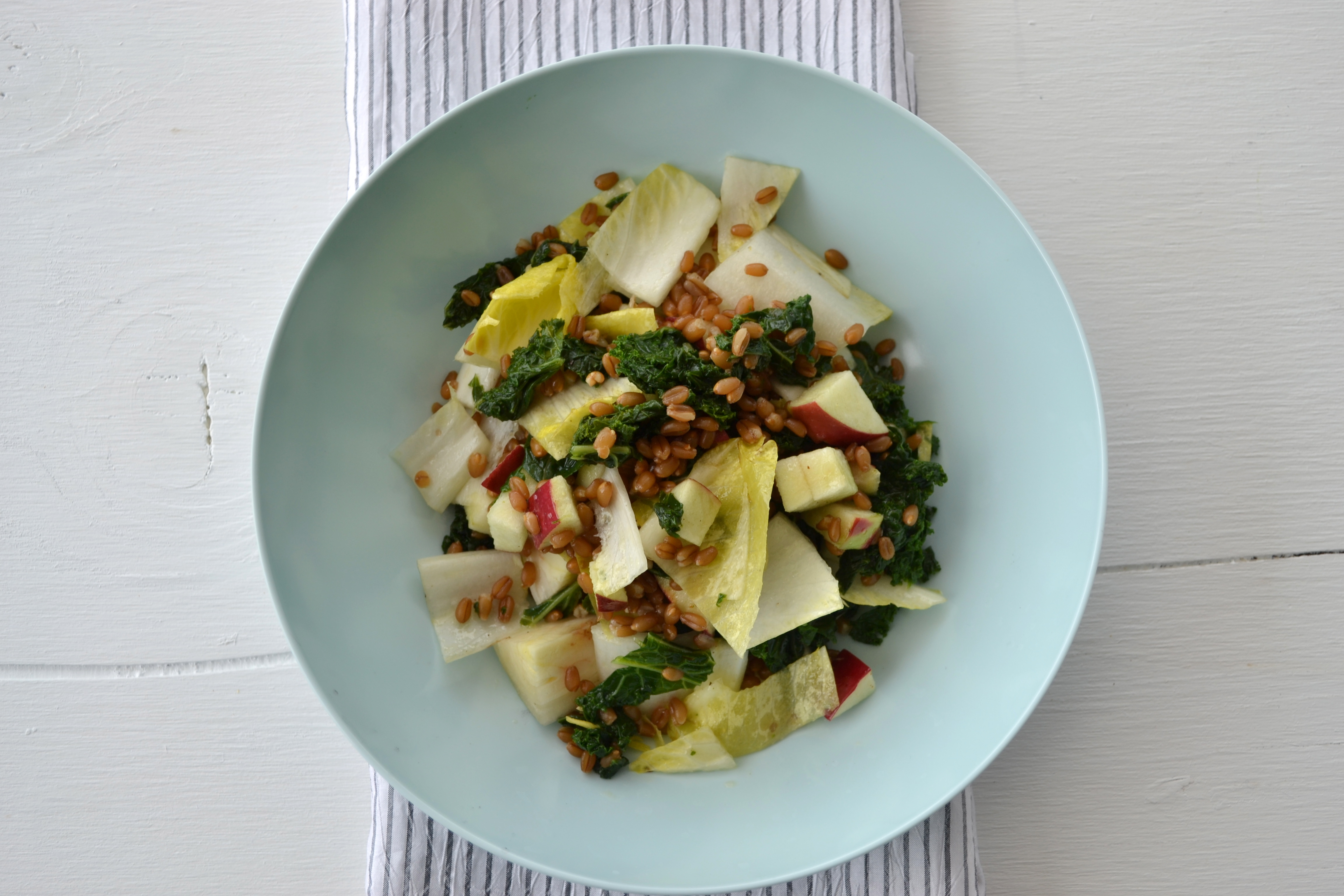 Wheat berry salad with apple, kale and endive