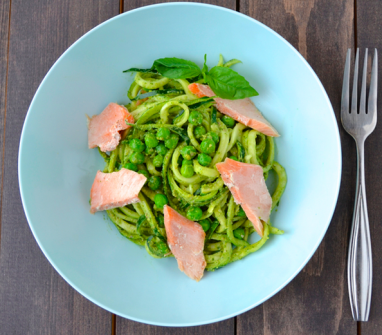 Zucchini Noodles with Avocado Pesto and Salmon