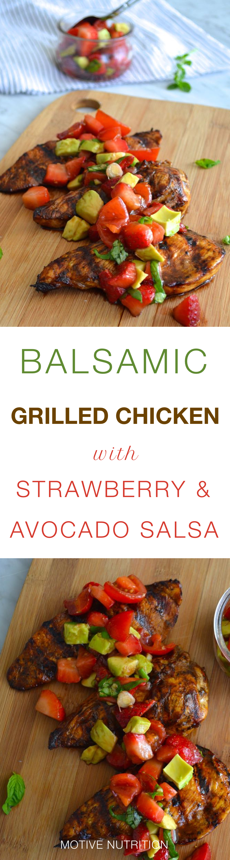Balsamic Grilled chicken with strawberry and avocado salsa pin