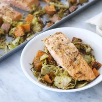 One-Tray Dinners: Salmon, Brussels and Sweet Potatoes