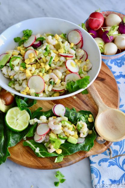 Nordic shrimp, radish and avocado chard wraps