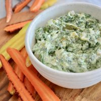 High protein spinach and caramelized onion dip