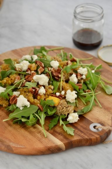 Quinoa, squash and goat cheese salad board