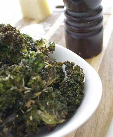 Kale chips with Pecorino and cracked pepper