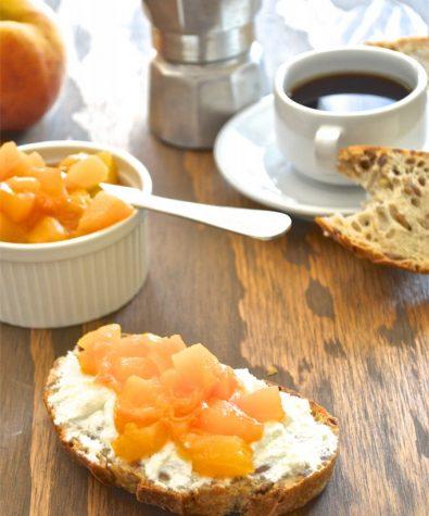 Ricotta Tartine With Maple-Peach Compote