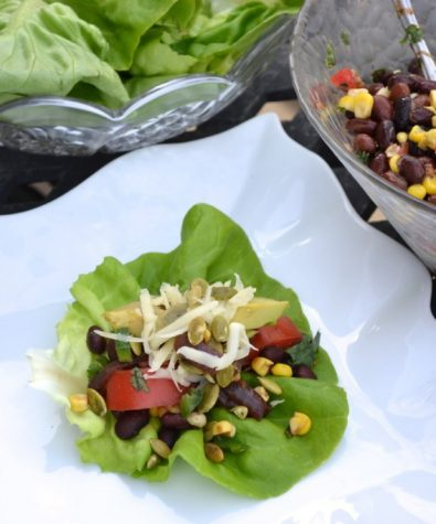 Black bean lettuce tacos