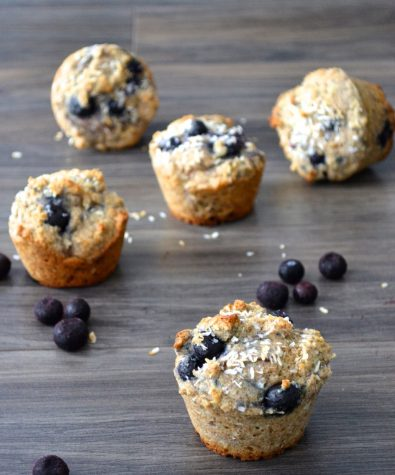 Whole grain blueberry coconut muffins