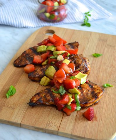 Balsamic Grilled Chicken with Strawberry and Avocado Salsa