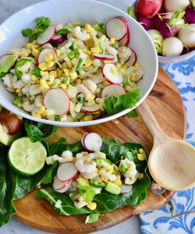Nordic shrimp, radish and avocado chard wraps