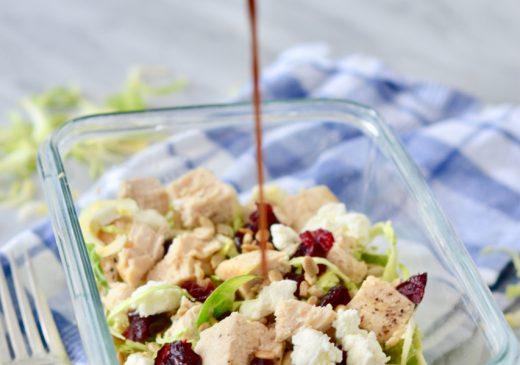 Brussels sprout, chicken and cherry salad